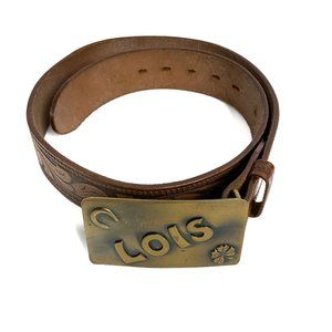 Brown Tooled Cowhide Leather Buckle Belt Size 28